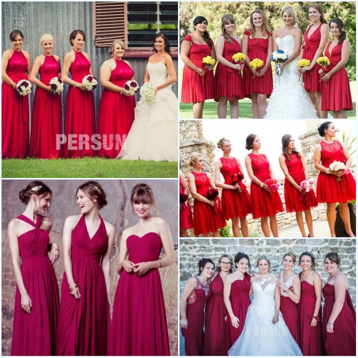 robes de demoiselle d'honneur en nuance rouge